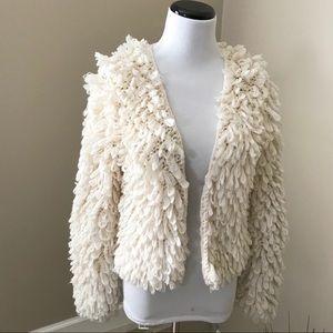 Cream Yarn Shaggy Fringe Open Cardigan Sweater